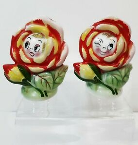 Vintage Anthropomorphic WInking Flower Face Salt Pepper Shakers Japan PY