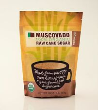 Raw Brown 100% USDA Organic Muscovado Raw Cane Sugar 3 / 1 lb bags 3 lbs total