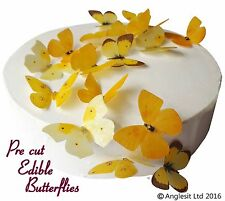 PRE-CUT BEAUTIFUL YELLOW BUTTERFLY EDIBLE WAFER PAPER CUP CAKE TOPPER DECORATION