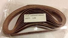 """120 Grit 10 Pack of 3/8""""x13"""" Air Sander Sanding Belts"""