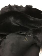Lambskin Shearling Leather Hair On Hide Pelt  Merino Reversible Black AY0519-01