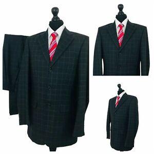 Patrick Bernard 2 Piece Suit Mens 38L 32W 33L Dark Grey Large Check Formal P90