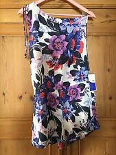 Women's Ladies Floral Summer Jump Suit Shoulder Down Size S/M