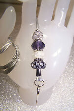 White Flowers Murano & Purple Crystal Beaded Jewellery Lanyard / ID Badge