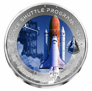 2021 Ghana Space Shuttle Launch 40th Anniversary 32 g Titanium GH¢2 Coin GEM BU