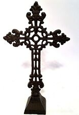 Cross Crucifix Cast Iron Large New Vintage French Style Shelf or Table Top Decor