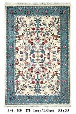 Ivory Green Hand Made 4' x 6' Hunting Area Rug Delightful Rugs outlet