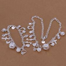 wedding charm Silver  Fashion Beautiful Pendant Bracelet Necklace set jewelry