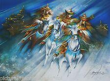 Original Rare Raymond Poulet Print Cavalier Samourai Horse