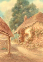 Louis Mortimer - Early 20th Century Watercolour,  Girl by Thatched Cottage