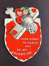 Vintage Valentine Card Die Cut Fold Out Airplane Usa 1940
