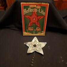 Antique Vtg 1920-30's Silver Doubl-Glo Tin Star- Reflecto-Lite Tree Topper W/Box
