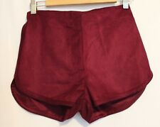 BEC & Brdge Burgundy Merlot Faux Suede Dressy High Waist Short 8