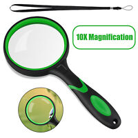10X Magnification Handheld Magnifier Magnifying Glass Handle Low Vision Aid 75mm