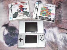 Nintendo DS Silber Handheld-Spielkonsole 2 Spiele Mario Kart & Puzzel League