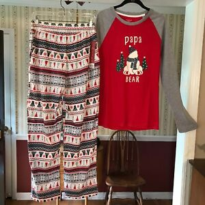 NWT Cuddl Duds Jammies For Your Families Men's 2pc PJ's Christmas Papa Bear Sz S