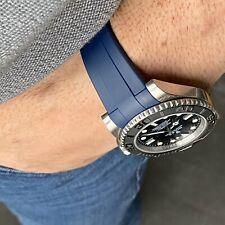 20mm BLUE Rubber Strap Band Made for Rolex Watches Submariner GMT with Buckle
