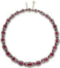 18.70ct ROSE CUT DIAMOND RUBY .925 STERLING SILVER NECKLACE