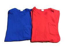 2 Vtg Fruit of The Loom 80s Single Stitch Blank Pocket T Shirt USA XL Red Blue