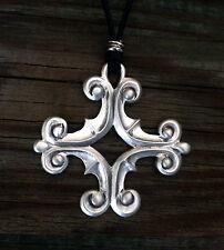 Ornate Greek Cross / Crux Immissa Quadrata Pendant Necklace by Treasure Cast Pew