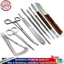 Profesional Juego de herramientas de laboratorio dental Cuchillo De Cera Cera Espátula Kelly Fórceps 9PC