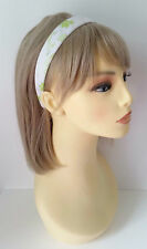 Gorgeous 2.5cm wide white & green flower pattern headband - aliceband * NEW *