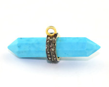925 Silver Sterling Diamond Turquoise Gemstone Woman Pendant Necklace Jewelry