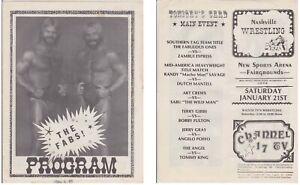 Championship Wrestling Program 1984 Match Card Fabulous Ones Memphis Nashville