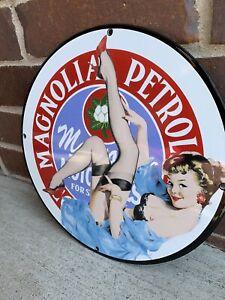Heavy 2 Lb Magnolia Petroleum Gasoline Pump Gas Advertising Porcelain Gas Sign