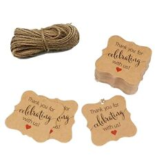 50 pcs Set, craft paper thank you tags wedding Decoration Party Favors