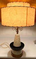 Vintage Mid-Century Retro Table Lamp w/ Two Tier Fiberglass Shade Nice!