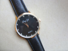 Smart  Gold and Crystal Faced Quartz Watch Black Strap