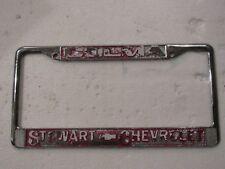 RARE Colma Stewart Chevrolet Metal License Plate Frame