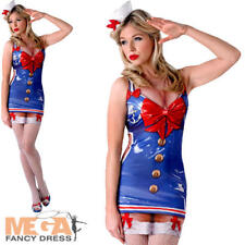Sexy Saucy Sailor Ladies Fancy Dress Navy Military Hen Womens Adults Costume New