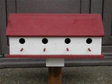 Birdhouse:Lg 4-Compartment Red & White Barn Bird House Handmade. Free Shipping