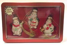 Lenox 2004 Tin Box Set Of 3 Snowmen Christmas Winter Ornaments Iob