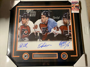 Lindros LeClair Legion Of Doom Autograph Signed Flyers 16x20 Framed Photo JSA