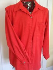 CHICO'S DESIGN Classic Long Sleeved Orange Polyester Suede One Pocket Shirt