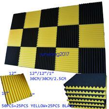 "50 PCS Yellow/BLACK Acoustic Wedge Soundproof Studio Foam Tile 12""x12""x1"""