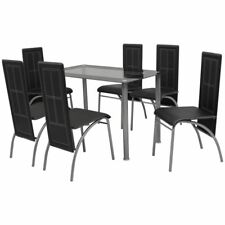 vidaXL Black Metal 7 pcs Dining Set Table 6 Chairs Kitchen Dining Room Furniture