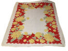 """Vintage Linen Table Cloth 59""""x52""""  Painted Colorful Red Yellow Flowers"""