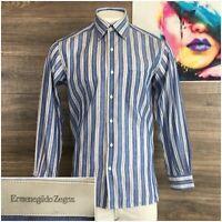 Ermenegildo Zegna Mens Button Down Casual Dress Linen Shirt Sz L Long Sleeve
