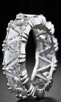 3ct Trillion Cut Diamond Eternity Vintage Wedding Band 14k White Gold Finish New