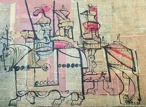 """""""The Knights"""" Original Mixed media on paper Artist unknown"""