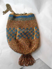 Vintage Drawstring Iridescent Beaded Flapper Purse Tassel Coppery As Is