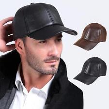Mens Brown Solid lambskin Leather Baseball Ball Motor Cap Hat Trucker Sport  Sale 19f1d106f7f1