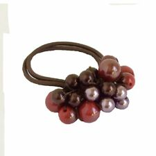 Rhinestone Crystal Pearls Hair Ponytail Holder Band - Red & Brown