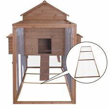 12ft Extra Large Wood Chicken Coop Hen House Run Nest Box w/ Base Panel Natural