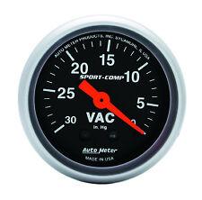 "Auto Meter Sport Comp Mechanical Vacuum Gauge 2-1/16"" (30 in. Hg.) 52mm"