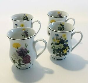 Waterside Fine China Set of 4 Coffee or Tea Mugs Fruit Serving Table Ware
